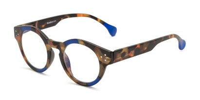 Angle of The Wynn Computer Reader in Blue/Tortoise, Women's and Men's Round Reading Glasses