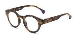 Angle of The Wynn Blue Light Reader in Purple/Tortoise, Women's and Men's Round Reading Glasses