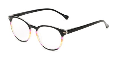 Angle of The Xenia in Black Multi, Women's Round Reading Glasses