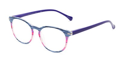 Angle of The Xenia in Blue Multi, Women's Round Reading Glasses