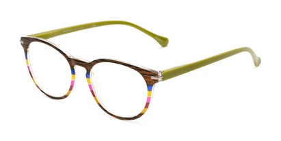 Angle of The Xenia in Brown/Green Multi, Women's Round Reading Glasses