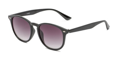 Angle of The Zane Reading Sunglasses in Black with Smoke, Women's and Men's Round Reading Sunglasses