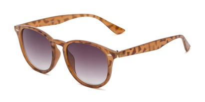 Angle of The Zane Reading Sunglasses in Light Brown Tortoise with Smoke, Women's and Men's Round Reading Sunglasses