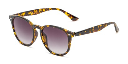 Angle of The Zane Reading Sunglasses in Yellow Tortoise with Smoke, Women's and Men's Round Reading Sunglasses