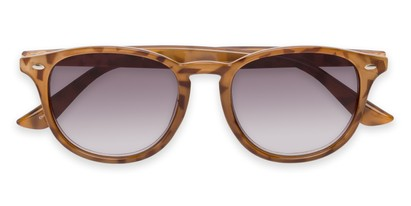 Folded of The Zane Reading Sunglasses in Light Brown Tortoise with Smoke