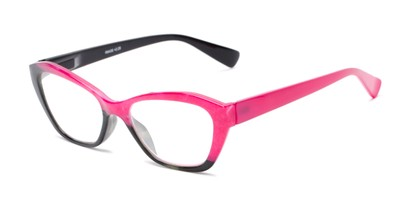 Angle of The Zara in Black/Pink, Women's Cat Eye Reading Glasses