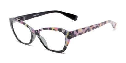 Angle of The Zara in Black/Floral, Women's Cat Eye Reading Glasses