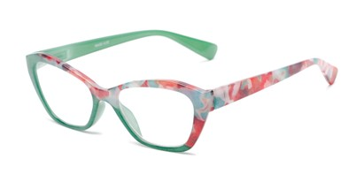 Angle of The Zara in Green/Floral, Women's Cat Eye Reading Glasses