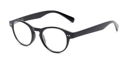 Angle of The Zealand in Glossy Black, Women's and Men's Round Reading Glasses