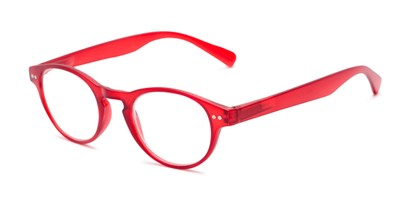Angle of The Zealand in Matte Red, Women's and Men's Round Reading Glasses