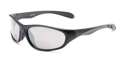 Angle of The Zeek Bifocal Reading Sunglasses in Matte Black with Grey, Women's and Men's Sport & Wrap-Around Reading Sunglasses