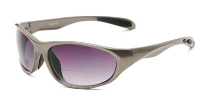 Angle of The Zeek Bifocal Reading Sunglasses in Glossy Grey with Smoke Lenses, Women's and Men's Sport & Wrap-Around Reading Sunglasses