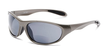 Angle of The Zeek Bifocal Reading Sunglasses in Glossy Grey with Grey, Women's and Men's Sport & Wrap-Around Reading Sunglasses