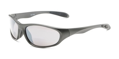 Angle of The Zeek Bifocal Reading Sunglasses in Matte Grey with Grey, Women's and Men's Sport & Wrap-Around Reading Sunglasses