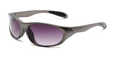 33ca7fb076 Angle of The Zeek Bifocal Reading Sunglasses in Matte Grey with Smoke