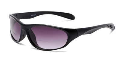 Angle of The Zeek Bifocal Reading Sunglasses in Matte Black with Smoke, Women's and Men's Sport & Wrap-Around Reading Sunglasses