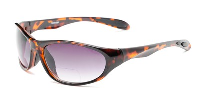 Angle of The Zeek Bifocal Reading Sunglasses in Glossy Tortoise with Smoke, Women's and Men's Sport & Wrap-Around Reading Sunglasses