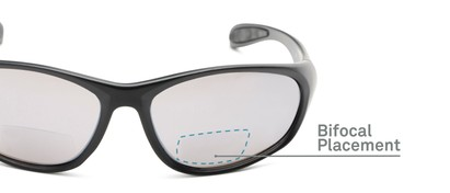 Detail of The Zeek Bifocal Reading Sunglasses in Matte Black with Grey