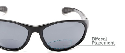 Detail of The Zeek Bifocal Reading Sunglasses in Glossy Black with Grey