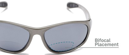 Detail of The Zeek Bifocal Reading Sunglasses in Glossy Grey with Grey
