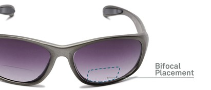 Detail of The Zeek Bifocal Reading Sunglasses in Glossy Grey with Smoke Lenses