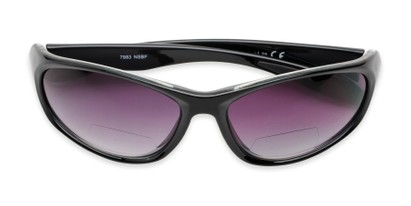 Folded of The Zeek Bifocal Reading Sunglasses in Glossy Black with Smoke Lenses