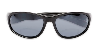 Folded of The Zeek Bifocal Reading Sunglasses in Glossy Black with Grey