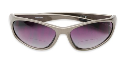 Folded of The Zeek Bifocal Reading Sunglasses in Glossy Grey with Smoke Lenses