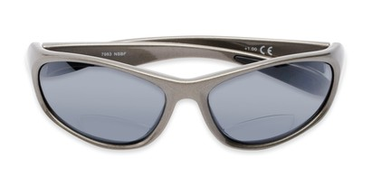 Folded of The Zeek Bifocal Reading Sunglasses in Glossy Grey with Grey