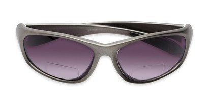 Folded of The Zeek Bifocal Reading Sunglasses in Matte Grey with Smoke