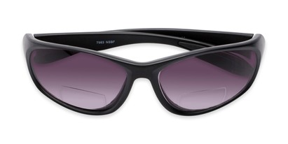Folded of The Zeek Bifocal Reading Sunglasses in Matte Black with Smoke