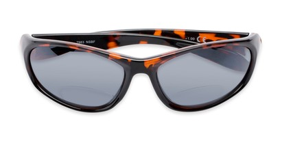 Folded of The Zeek Bifocal Reading Sunglasses in Glossy Tortoise with Grey