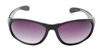 Front of The Zeek Bifocal Reading Sunglasses in Glossy Black with Smoke Lenses