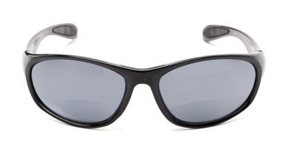 Front of The Zeek Bifocal Reading Sunglasses in Glossy Black with Grey