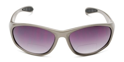 Front of The Zeek Bifocal Reading Sunglasses in Glossy Grey with Smoke Lenses