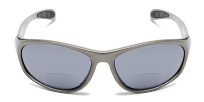 Front of The Zeek Bifocal Reading Sunglasses in Glossy Grey with Grey