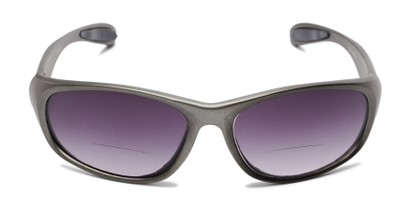Front of The Zeek Bifocal Reading Sunglasses in Matte Grey with Smoke