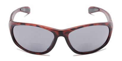 Front of The Zeek Bifocal Reading Sunglasses in Matte Tortoise with Grey