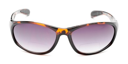 Front of The Zeek Bifocal Reading Sunglasses in Glossy Tortoise with Smoke