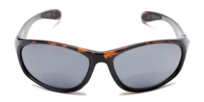 Front of The Zeek Bifocal Reading Sunglasses in Glossy Tortoise with Grey