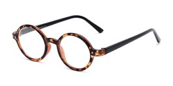 Angle of The Bookworm in Brown Tortoise/Black, Women's and Men's Round Reading Glasses
