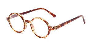 Angle of The Bookworm in Marbled Brown, Women's and Men's Round Reading Glasses