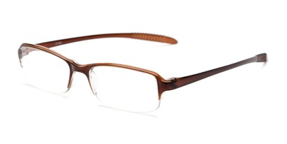 Angle of The Joel in Brown, Women's and Men's Rectangle Reading Glasses