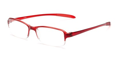 Angle of The Joel in Red, Women's and Men's Rectangle Reading Glasses