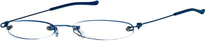 Angle of The Toronto Slim Reader in Blue, Women's and Men's Oval Reading Glasses