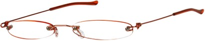 Angle of The Toronto Slim Reader in Red, Women's and Men's Oval Reading Glasses