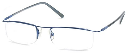 Angle of The Johnson in Bright Blue Frame with clear, Women's and Men's