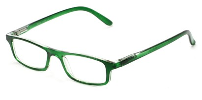 Angle of The Corey in Green, Women's and Men's Rectangle Reading Glasses