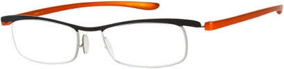 Angle of The Expert in Black/Orange, Women's and Men's Rectangle Reading Glasses