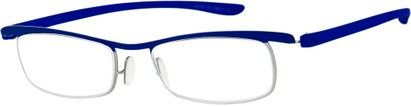 Angle of The Expert in Purple/Silver, Women's and Men's Rectangle Reading Glasses